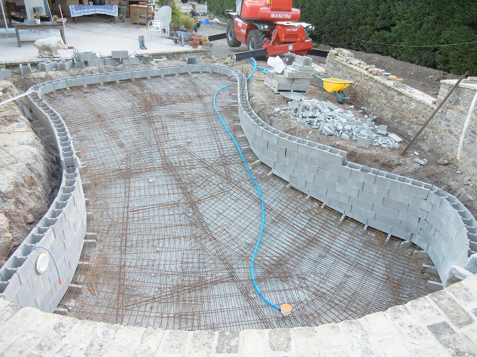 Mise en place de la structure de la piscine